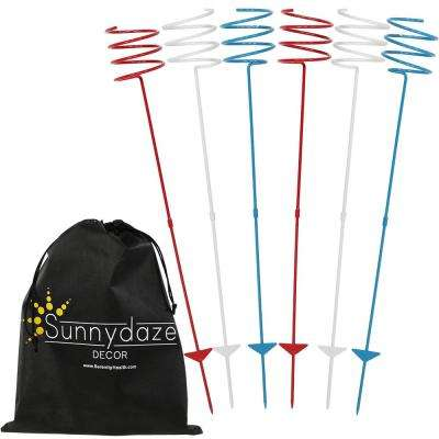 Heavy-Duty Red White and Blue Outdoor Drink Holder (Set of 6)