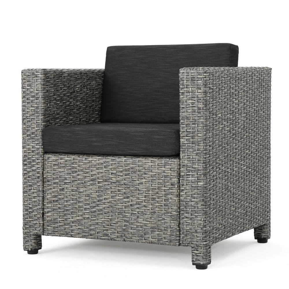 Cadence Mixed Black 2-Piece Wicker Patio Deep Seating Set with Dark Grey Cushions