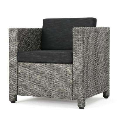 Cadence Mixed Black 2-Piece Wicker Patio Deep Seating Set with Dark Grey Cushions