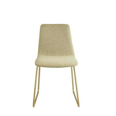 Mimosa Light Green Fabric and Gold Accent Chair