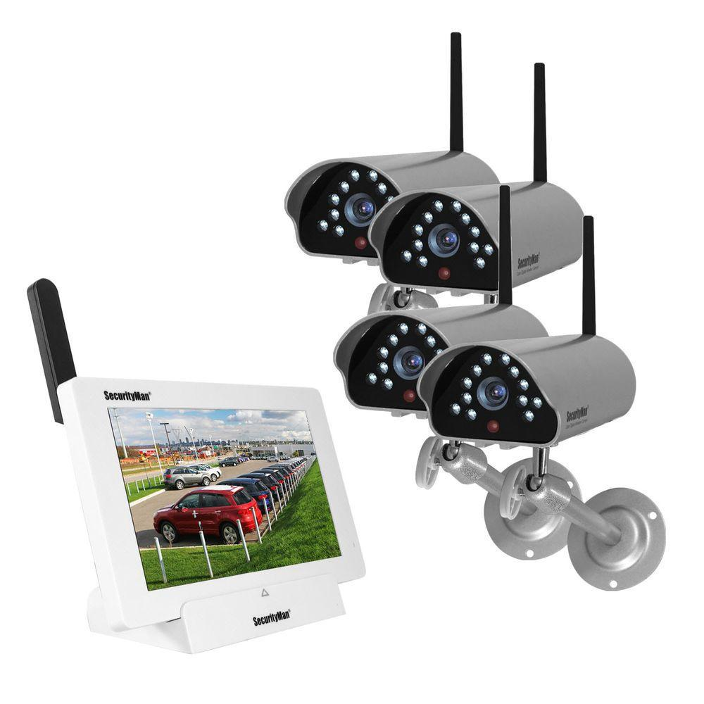 Exterior Home Security Cameras: SecurityMan ISecurity 4-Channel 480TVL Digital Wireless