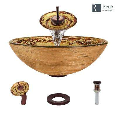 Glass Vessel Sink in Golden and Auburn with Waterfall Faucet and Pop-Up Drain in Oil Rubbed Bronze