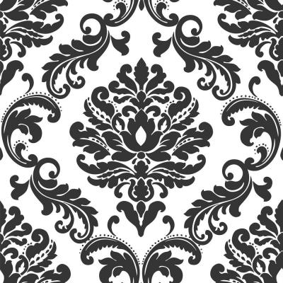 30.75 sq. ft. Ariel Black and White Damask Peel and Stick Wallpaper