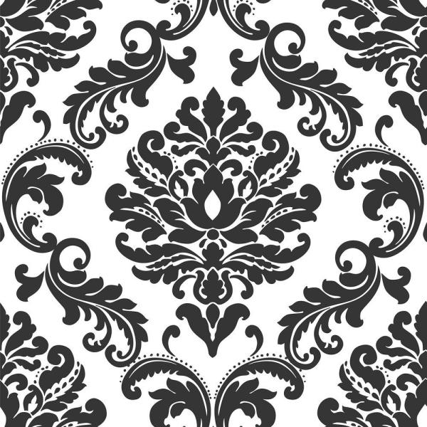 NuWallpaper Ariel Black and White Damask Peel and Stick Wallpaper Sample