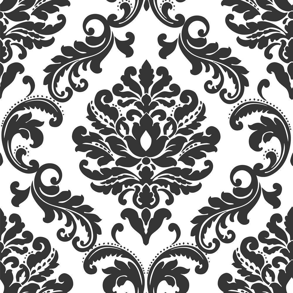 Ariel Black and White Damask Black Wallpaper Sample