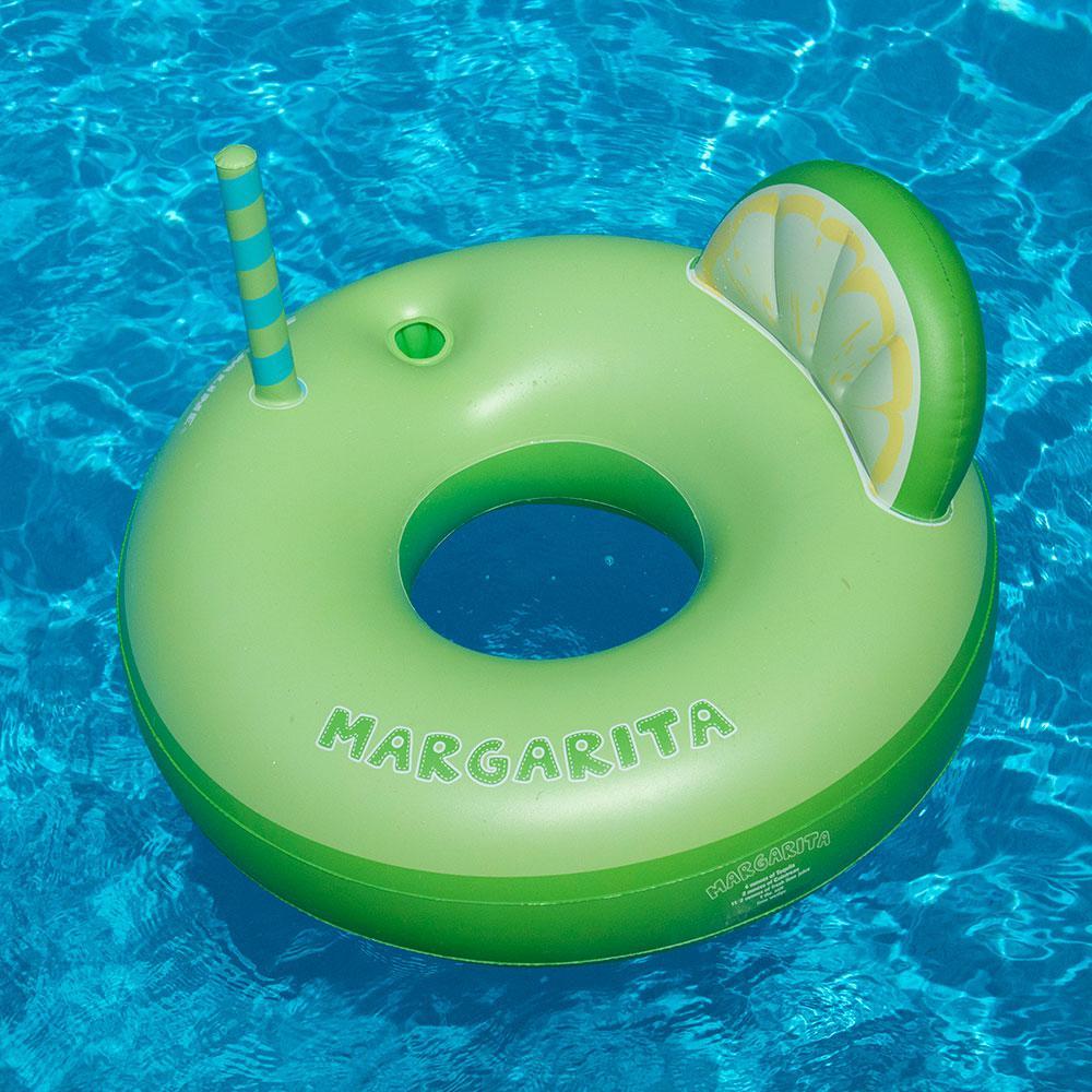 Swimline Vinyl Inflatable Margarita Tube Ring with Drink Holder Pool Float, Green