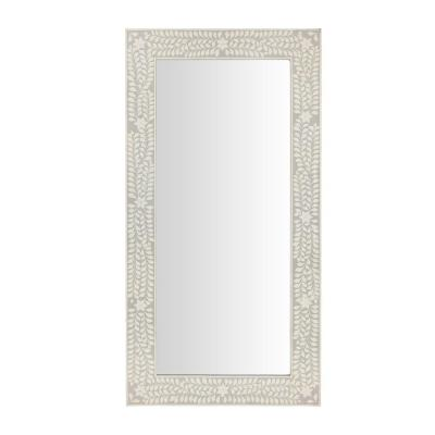 Oversized Dark Grey Wood Frame Art Deco Floor Mirror with Faux Bone Inlay (62 in. H x 32 in. W)