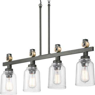 Knollwood 4-Light Antique Bronze Linear Chandelier with Vintage Brass Accents and Clear Glass Shades
