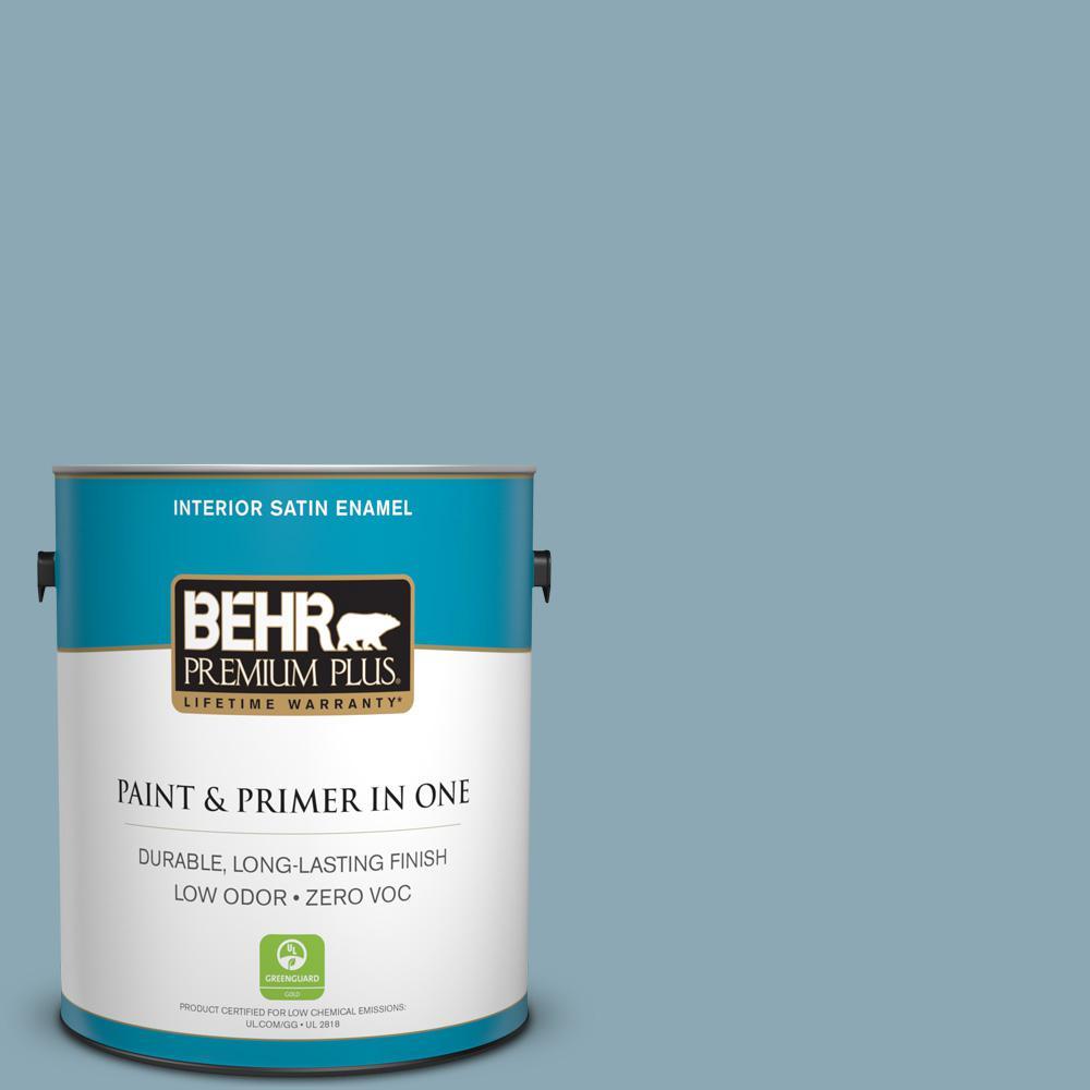BEHR Premium Plus 1-gal. #530F-4 Newport Blue Zero VOC Satin Enamel Interior Paint