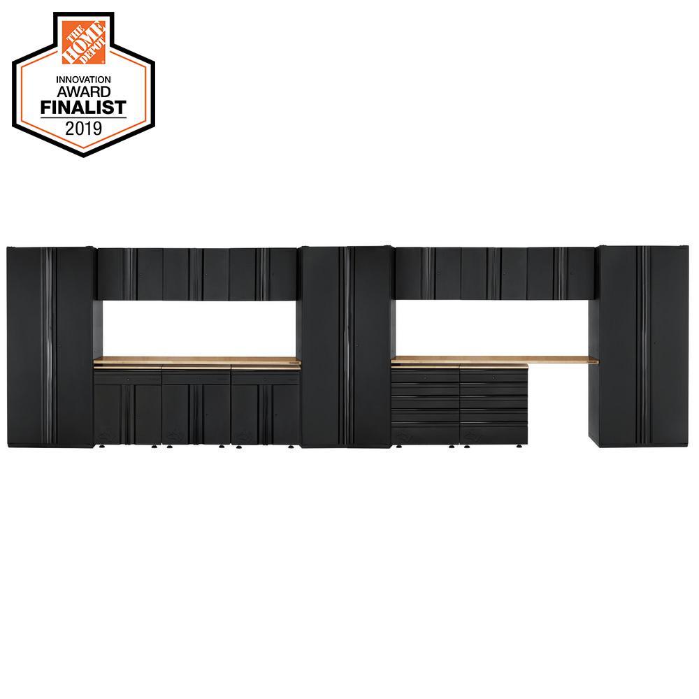 Husky Heavy Duty Welded 276 in. W x 81 in. H x D 24 in. Steel Garage Cabinet Set in Black (16-Piece)