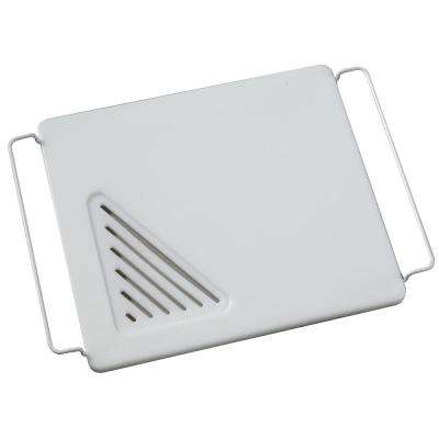 12 in. x 13 in. Over-the-Sink Poly Cutting Board with Adjustable Wire Handles