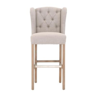 Madelyn 31.25 in. Tan Cushioned Bar Stool in Stone Wash