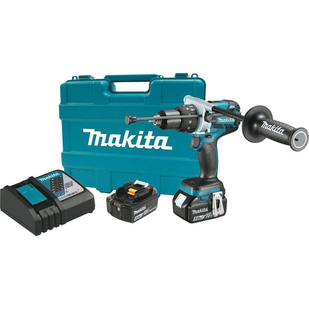 Makita 18-Volt LXT Lithium-Ion 1/2 in. Brushless Cordless Hammer Drill Kit with (2) Batteries (5.0 Ah), Charger and Hard Case