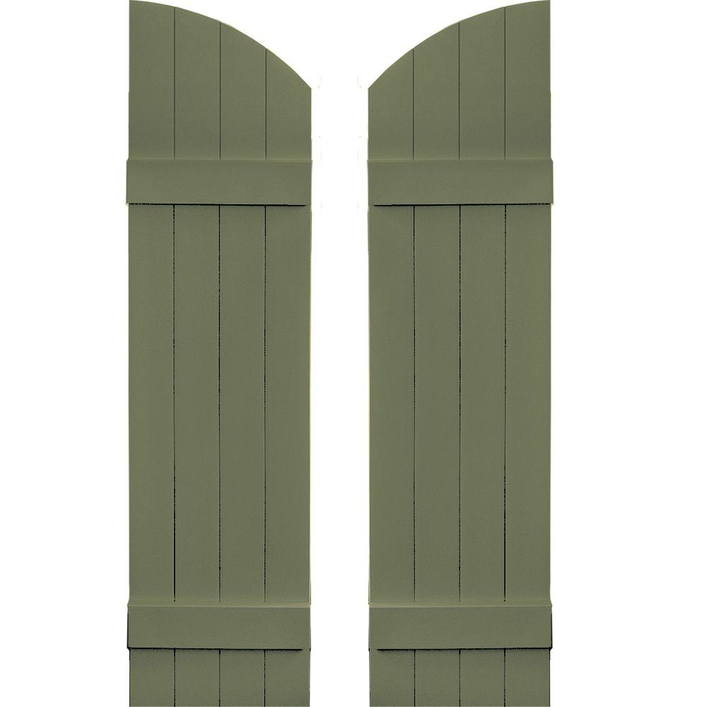 Builders Edge 14 in. x 49 in. Board-N-Batten Shutters Pair, 4 Boards Joined with Arch Top #282 Colonial Green