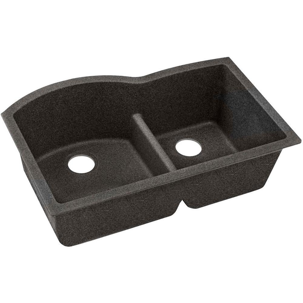 Quartz Classic Undermount Composite 33 in. Double Bowl Kitchen Sink in Black Shale