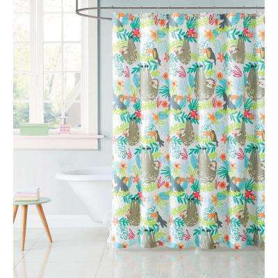 Kids 72 in. Multi Hanging Out Shower Curtain