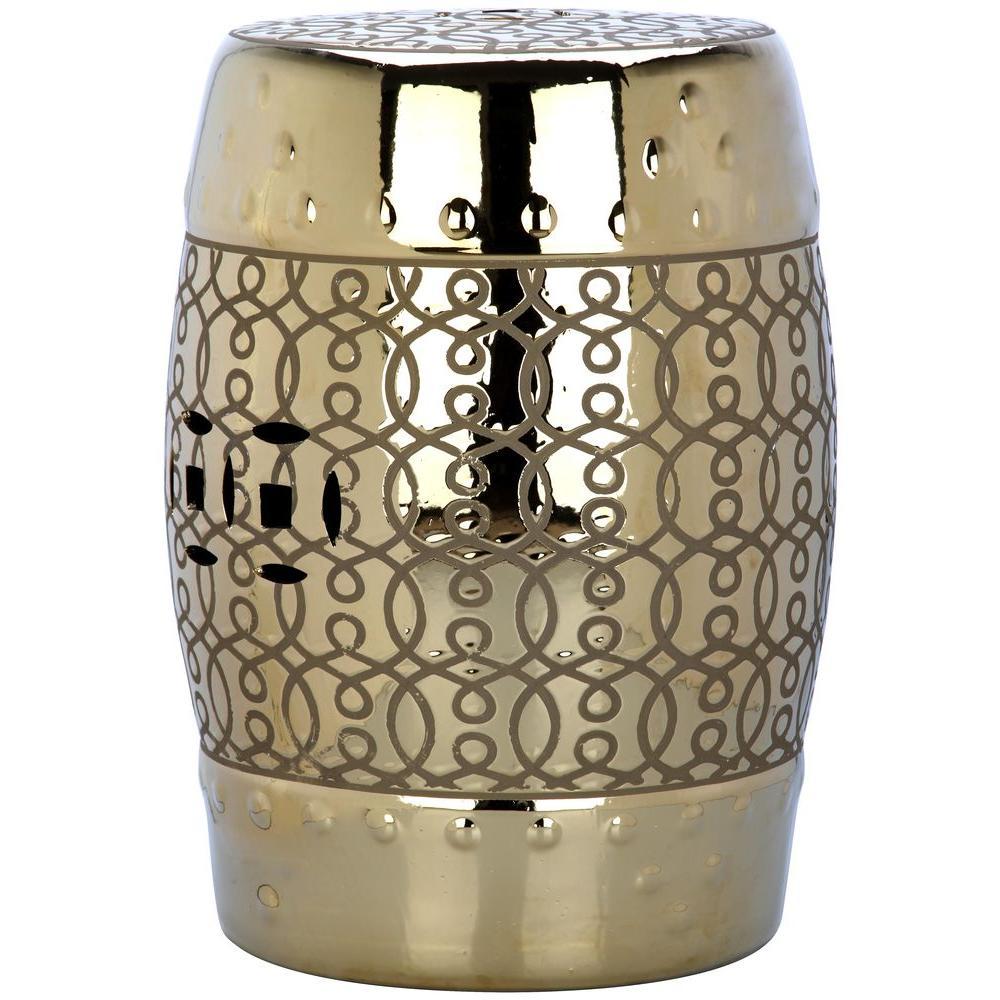 Lantana Plated Gold Patio Stool