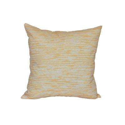 16 in. x 16 in. Yellow Marled Knit Geometric Print Pillow