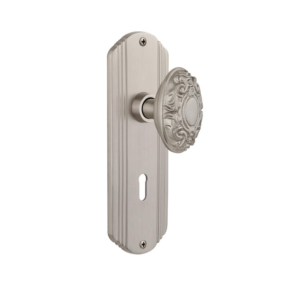 Deco Plate with Keyhole 2-3/8 in. Backset Satin Nickel Passage Victorian Door Knob