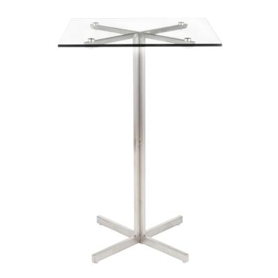Fuji Stainless Steel Square Bar Table With Clear Glass Top