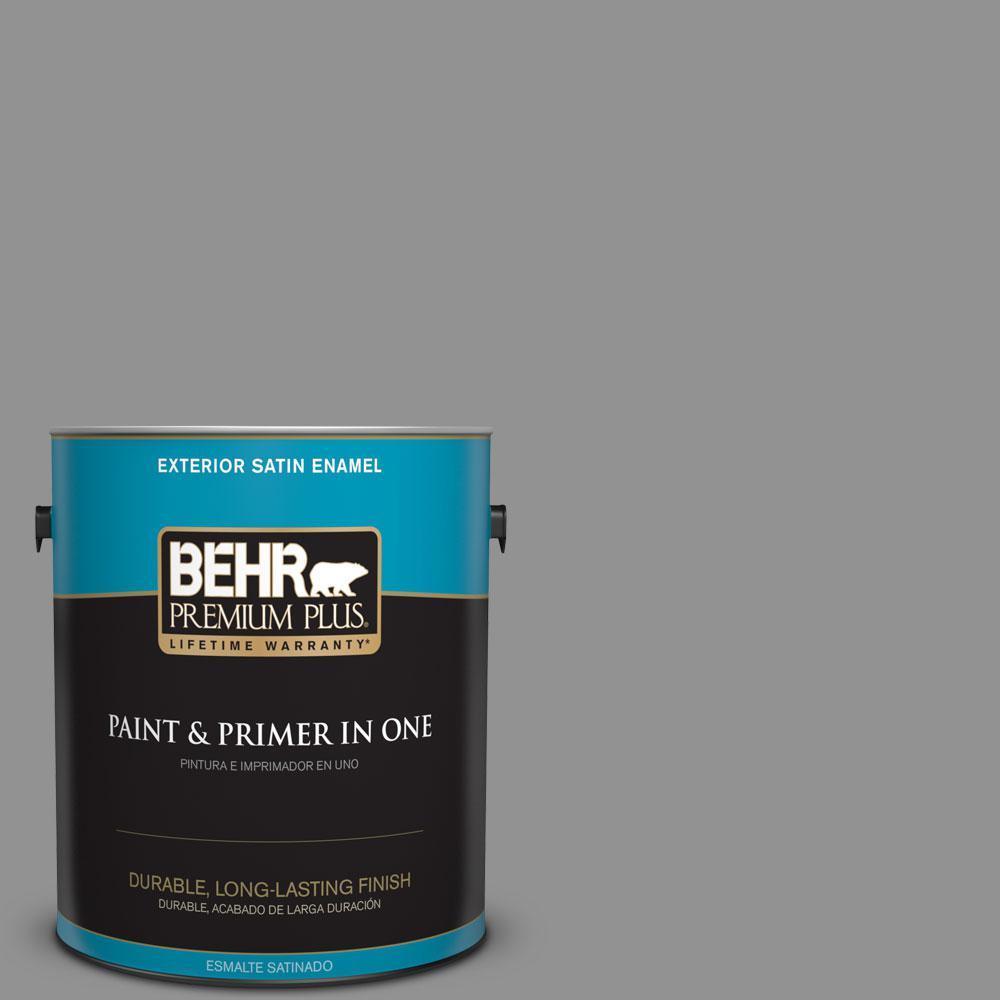 1-gal. #N520-4 Cool Ashes Satin Enamel Exterior Paint