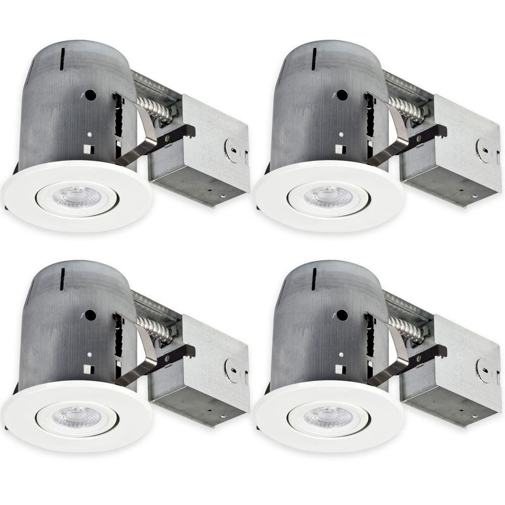 Globe Electric 5 in. White Recessed Swivel Spot-Light Kit (4-Pack ...