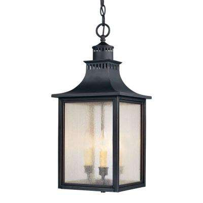 3-Light Outdoor Hanging Slate Lantern wiith Pale Cream Seeded Glass Shade