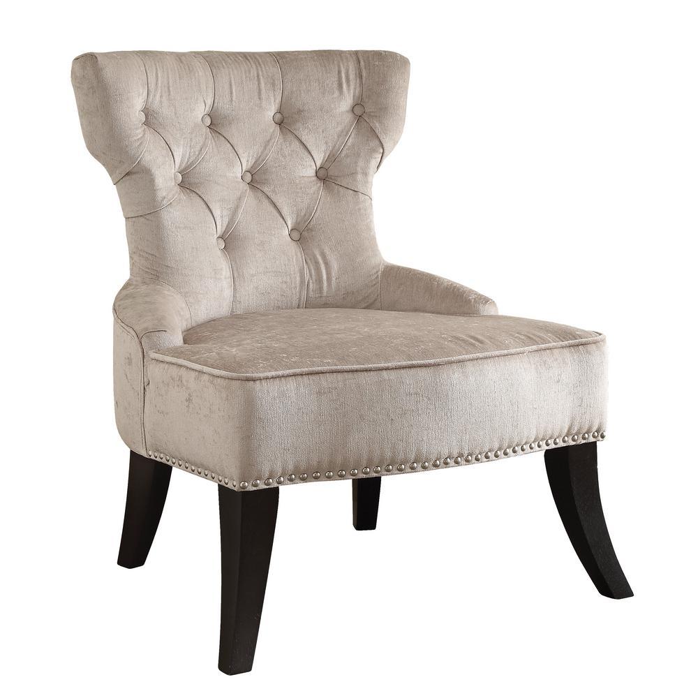 Colton Vintage Style Button Tufted Parchment Cream Velvet Chair