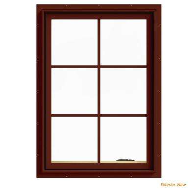 28 in. x 40 in. W-2500 Series Red Painted Clad Wood Right-Handed Casement Window with Colonial Grids/Grilles