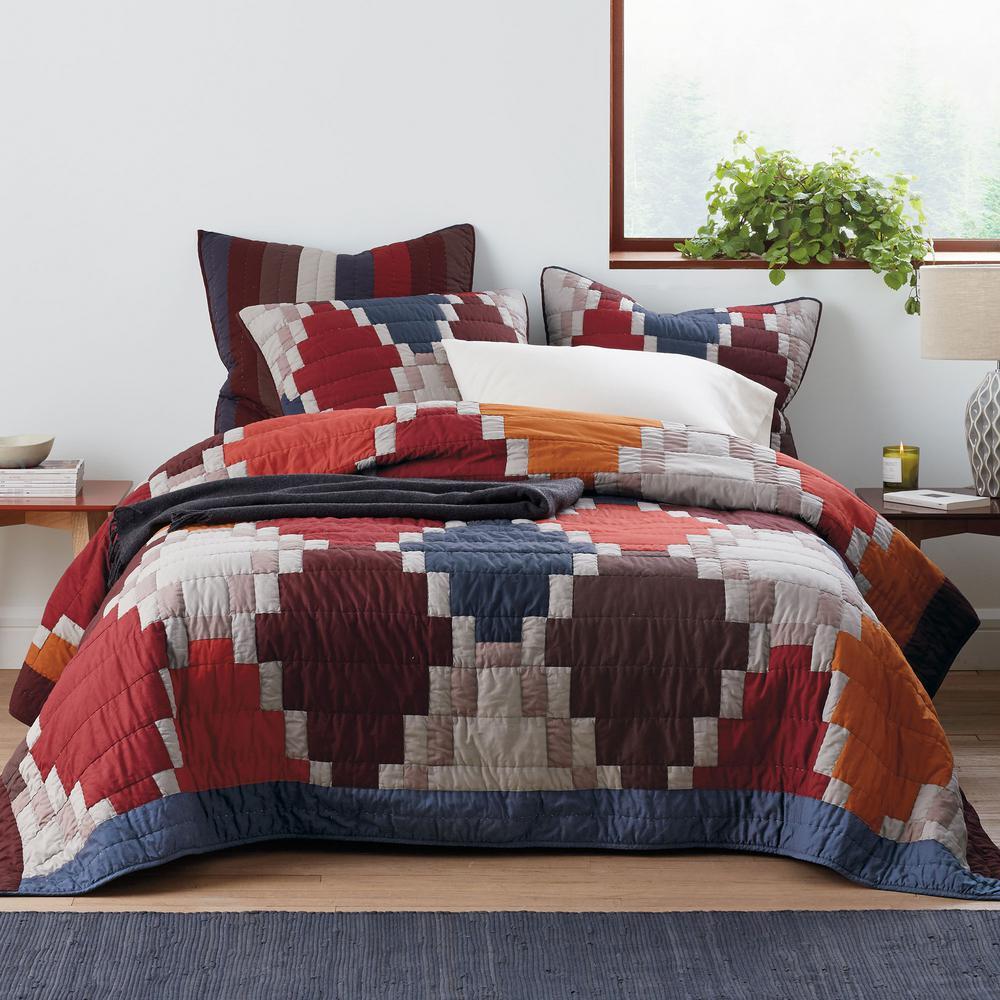 Mosaic Multicolored Geometric Cotton Patchwork King Quilt