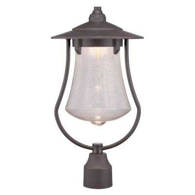 10 in. Aged Bronze Patina Outdoor LED Post Light with Clear Seedy Glass