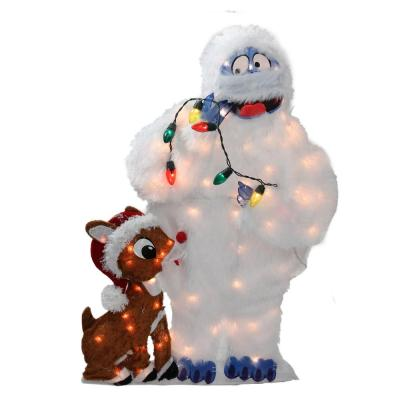 32 in. Christmas Pre-Lit Peanuts Rudolph and Bumble 2-D Outdoor Decoration
