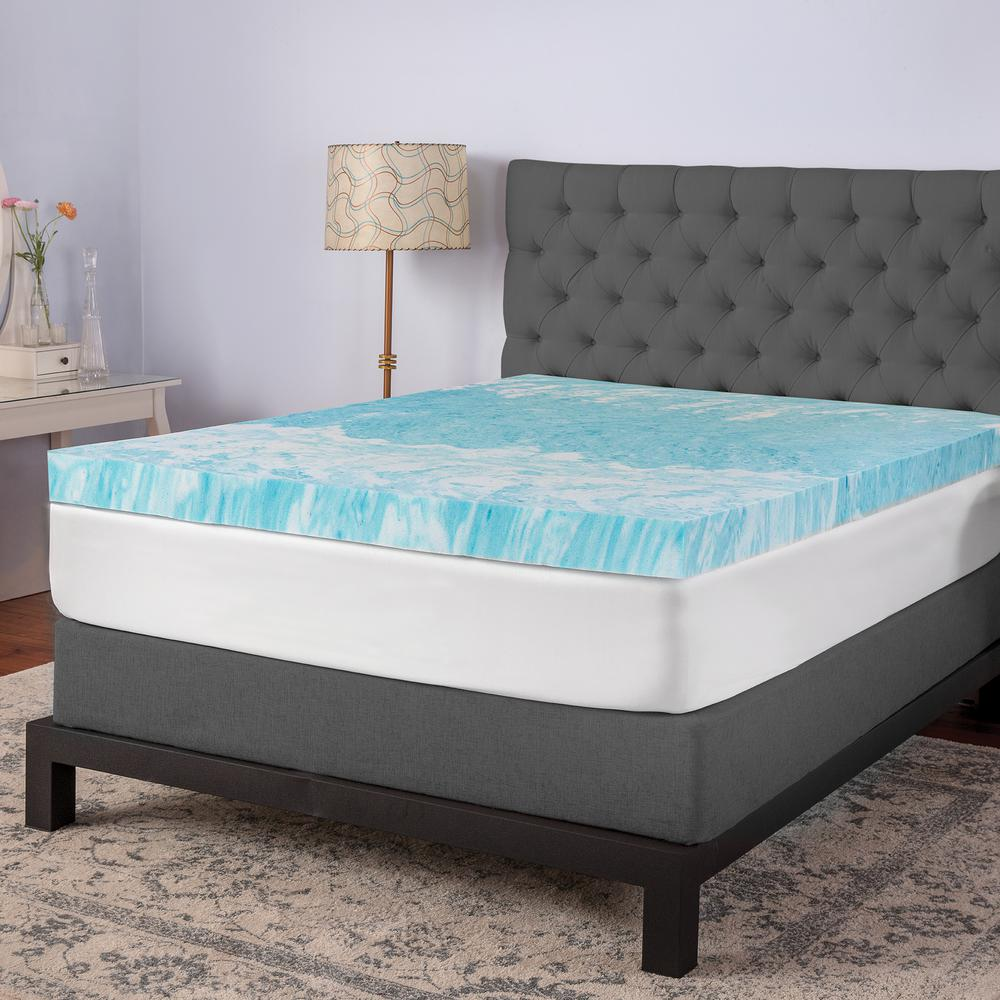 memory gel mattress topper BioPEDIC 4 in. Gel Swirl King Memory Foam Topper 94132   The Home  memory gel mattress topper