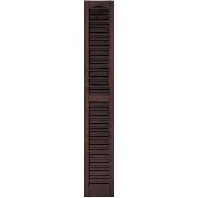 12 in. x 75 in. Louvered Vinyl Exterior Shutters Pair in #009 Federal Brown