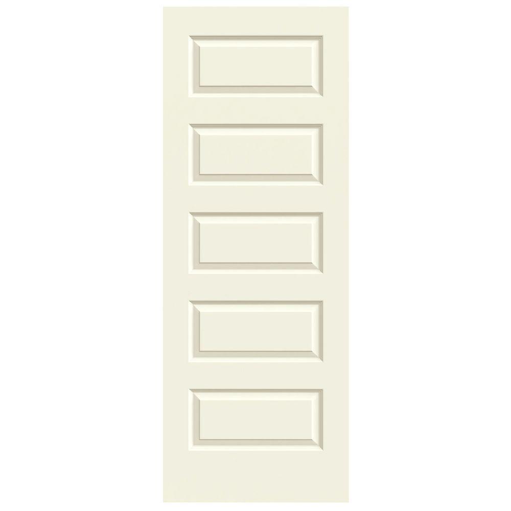 JELD-WEN 32 in. x 80 in. Rockport Vanilla Painted Smooth Molded Composite MDF Interior Door Slab