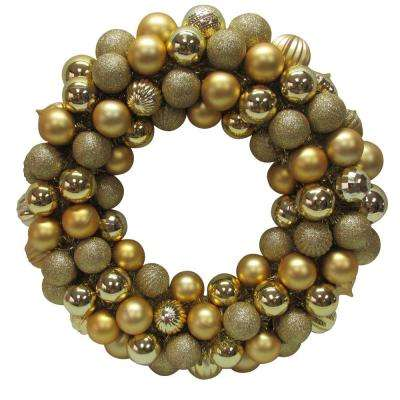 20 in. Gold Plastic Ball Christmas Ornament Wreath
