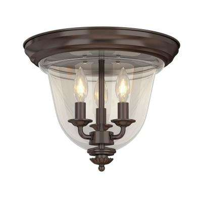 3-Light Bronze Flushmount with Clear Glass