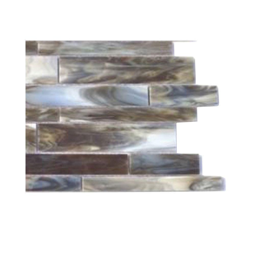 Splashback Tile Matchstix Mudbath 3 in. x 6 in. x 3 mm Glass Mosaic ...