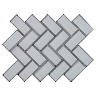 Ice Bevel Herringbone 11.08 in. x 13.86 in. x 8mm Glossy Glass Mesh-Mounted Mosaic Tile (10.6 sq. ft. / case)