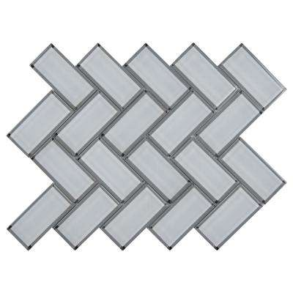 11.08 in. x 13.86 in. x 8mm Ice Bevel Herringbone Glass Mesh-Mounted Mosaic Tile (10.6 sq. ft. / case)