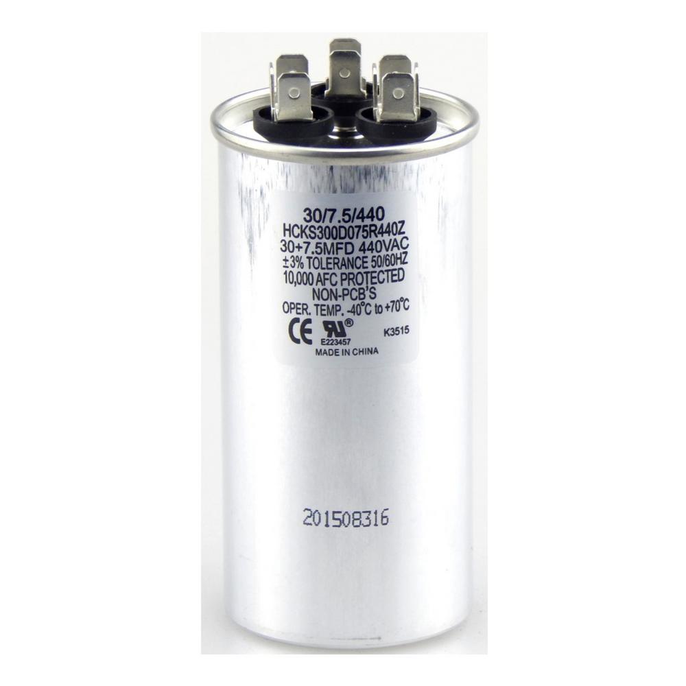 440-Volt 30/7.5 MFD Dual Rated Motor Run Round Capacitor