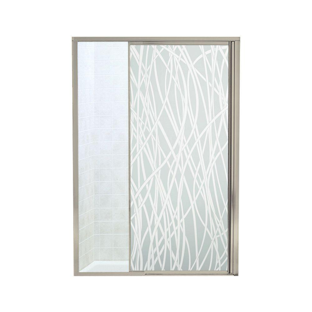STERLING Vista II 48 in. x 65-1/2 in. Framed Pivot Shower Door in Nickel with Tangle Glass Pattern
