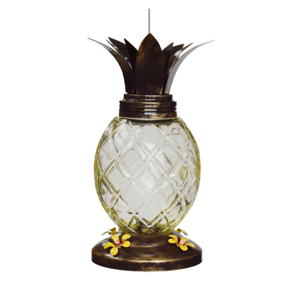 Glass Pineapple Hummingbird Feeder with Metal Top and Base Cover