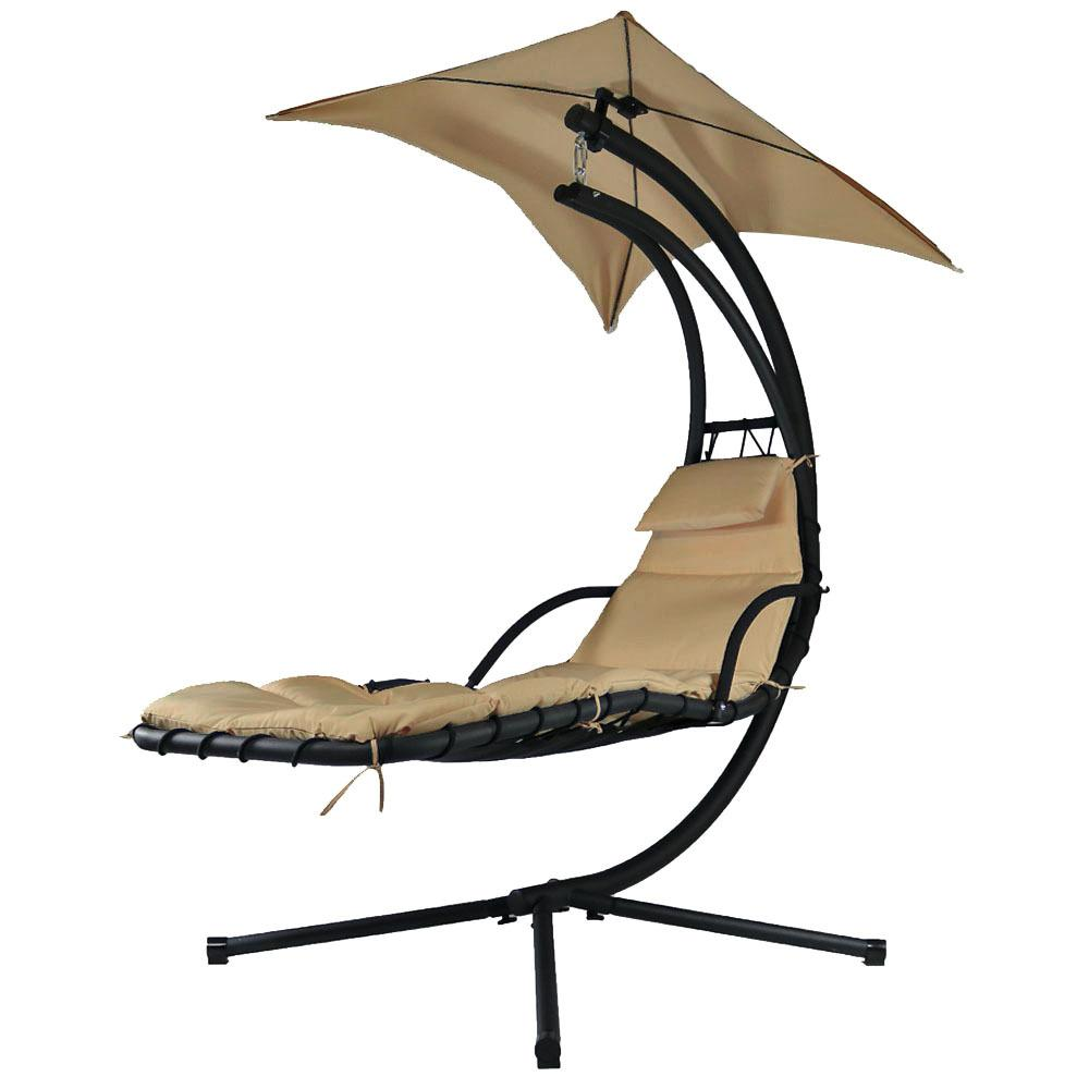 Sunnydaze decor floating metal patio chaise lounge chair with umbrella and beige cushions