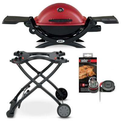 Q 1200 1-Burner Portable Propane Gas Grill in Red Combo with Rolling Cart and iGrill Mini