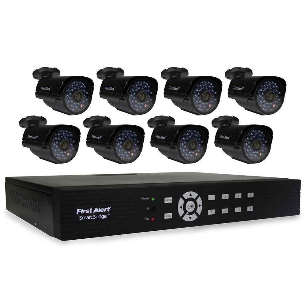 First Alert SmartBridge 8-Channel Video Surveillance System with (8) 520-TVL Indoor/Outdoor Night Vision Cameras
