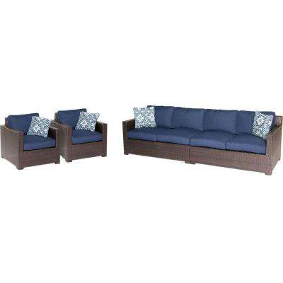 Metropolitan Brown 4-Piece Aluminum All-Weather Wicker Patio Seating Set with Navy Blue Cushions