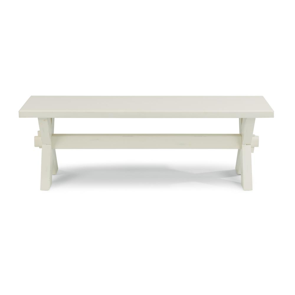 Seaside Lodge White Trestle Dining Bench