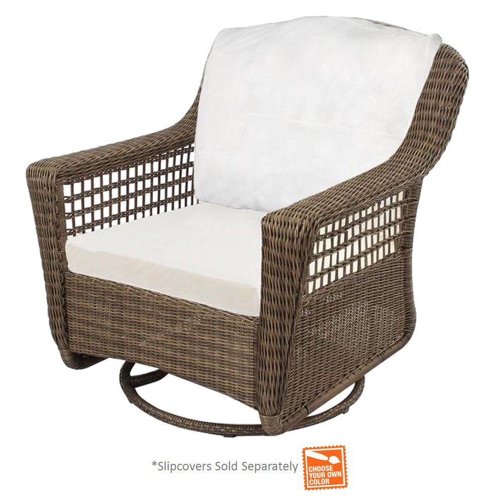 hampton bay spring haven grey wicker outdoor patio swivel rocker chair with cushions included choose your own color