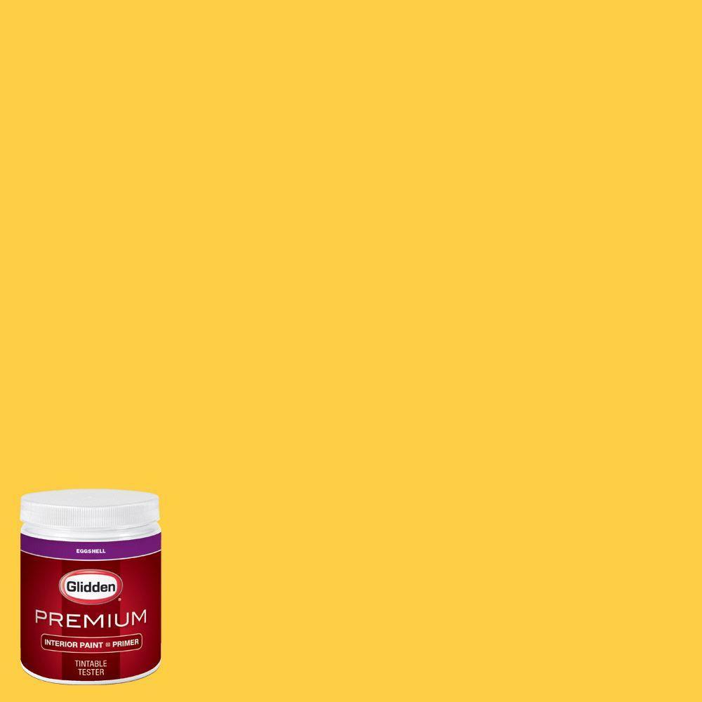 Glidden Premium 8 Oz Hdgy41d Festival Yellow Eggshell Interior Paint Sample With Primer